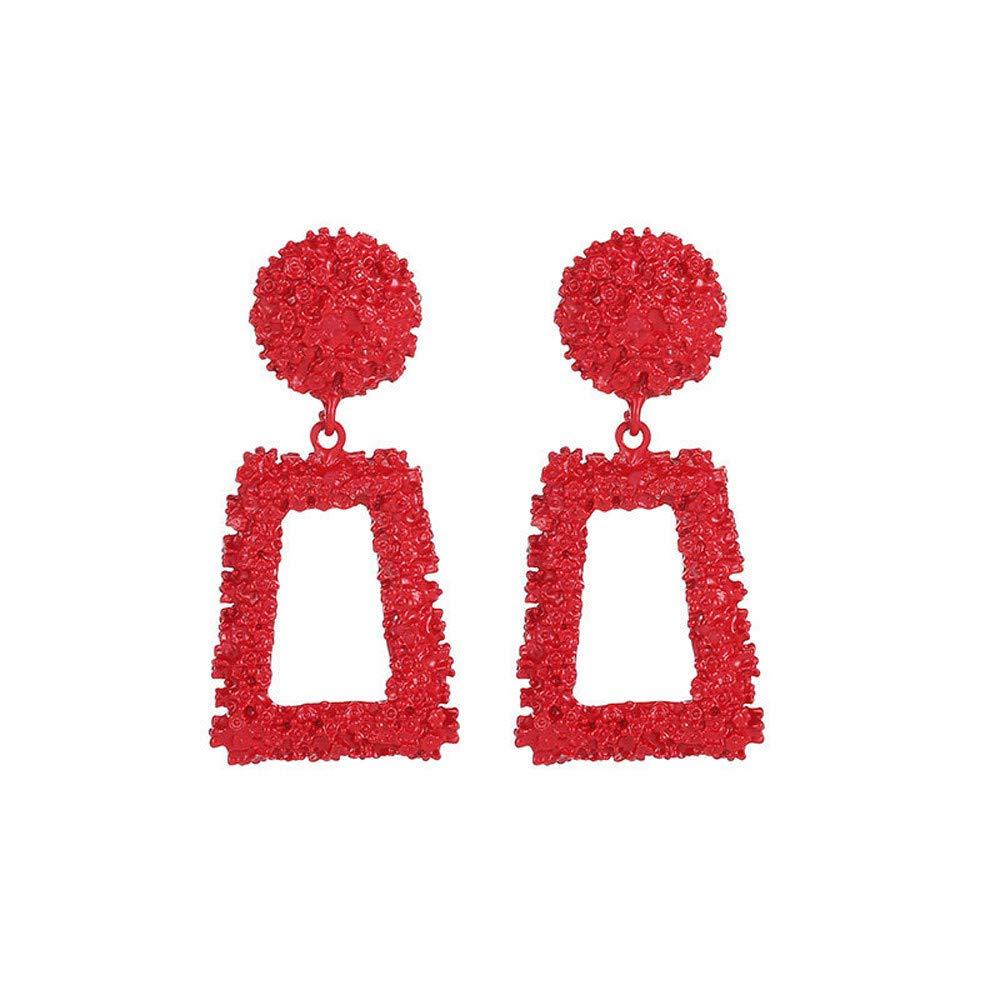 WoCoo New Geometric Trapezoidal Earrings Long Metal Earrings,Elegant Earrings for Women Girls(Red)