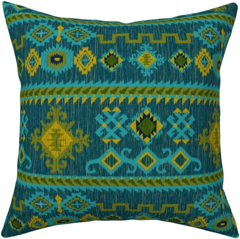 Kilim Bohemian Red Blue Throw Pillow Cover w Optional Insert by Roostery