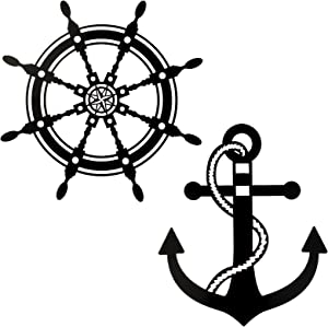 Nautical Boat Steering Rudder Wall Decor Nautical Beach Metal Ship Wheel Wall Hanging Decor and Metal Anchor Wall Decor Metal Nautical Lighthouse Anchor Hanging Sign for Home Bedroom Decorarion