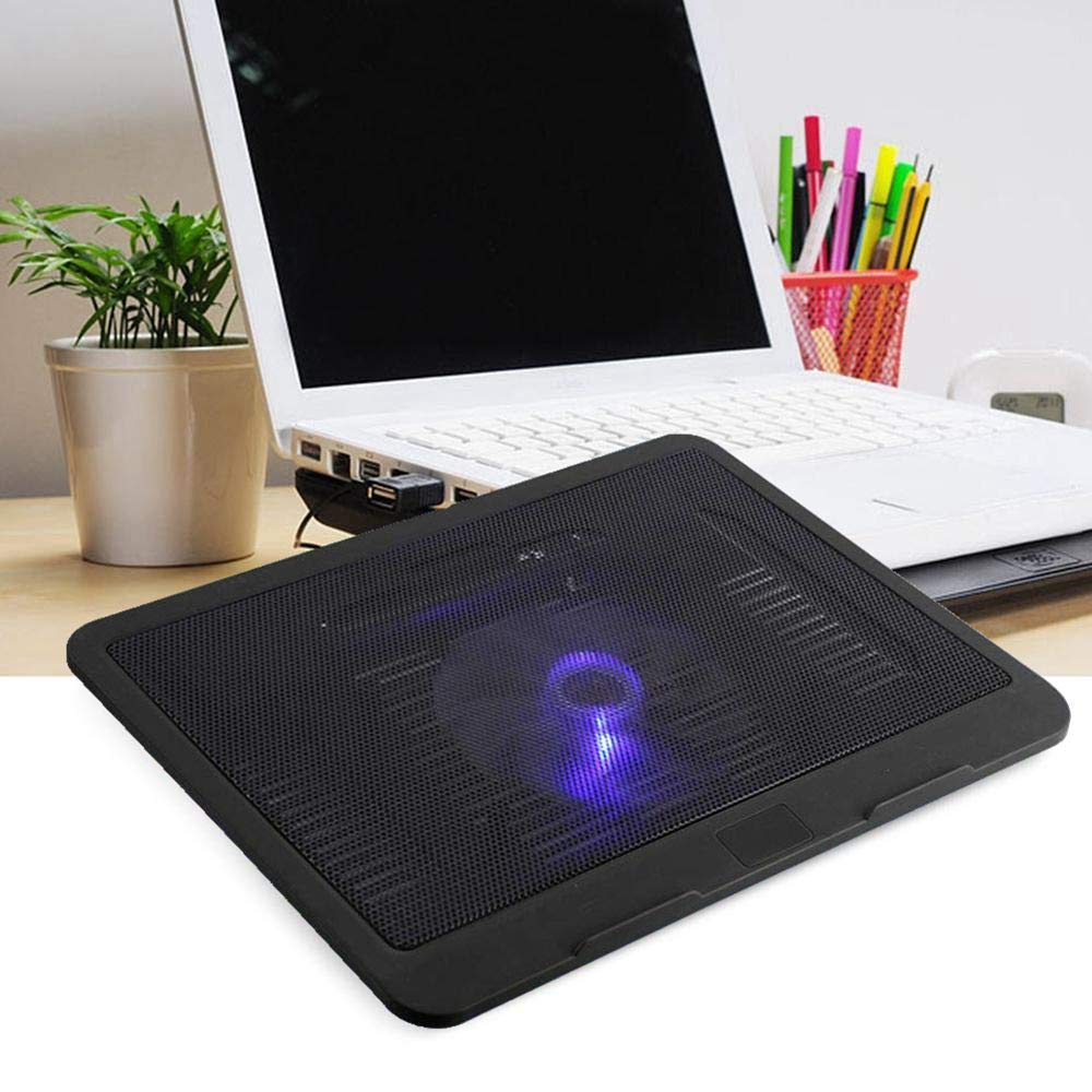 Big Fan USB Powered Laptop Notebook Cooler Cooling Pad Stand for 14 inch or Below Laptop Black Portable Super Quiet Fans with Blue LEDs Laptop Cooling Pad