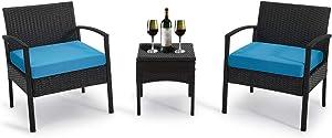 GREARDEN Patio 3 Pieces PE Rattan Wicker Chair Set, Garden Rattan Wicker Furniture Set Outdoor Indoor, 3 PCS Conversation Sets with Coffee Table for Balcony Backyard (Blue)