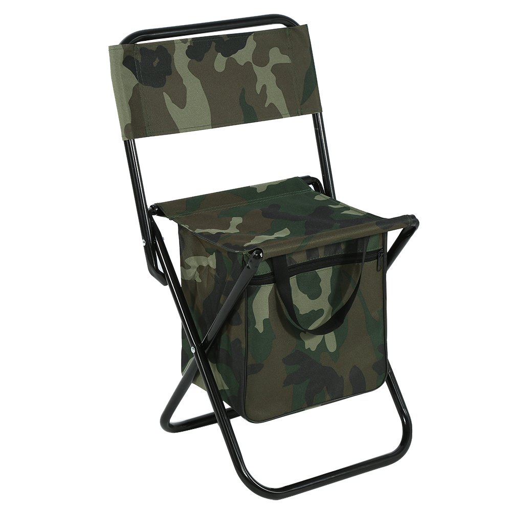 Asixx Fishing Chair, Foldable Outdoor Camping Fishing Chair Convenient Carry Seat Made Steel Pipes 600D Durable Oxford Fabric, Camouflage Color