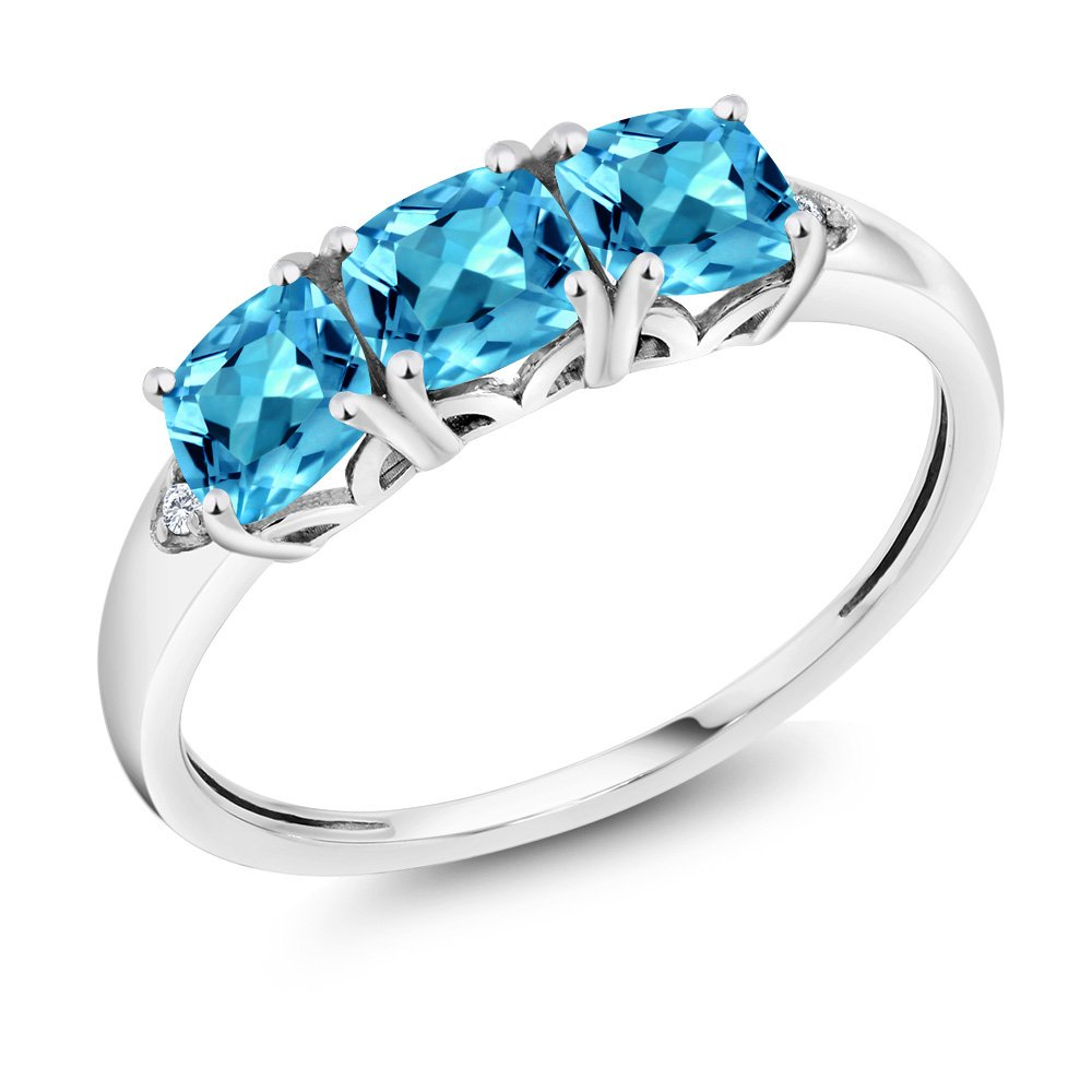 10K White Gold 1.96 Ct Cushion Swiss Blue Topaz and Diamond 3-Stone Ring (Available in size 5, 6, 7, 8, 9)