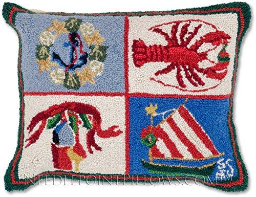 Nantucket Throw Pillow (Handmade 100% Wool Hooked Decorative Nantucket Coastal Holiday Wreath Nautical Lobster Sailboat Christmas Throw Pillow. 16