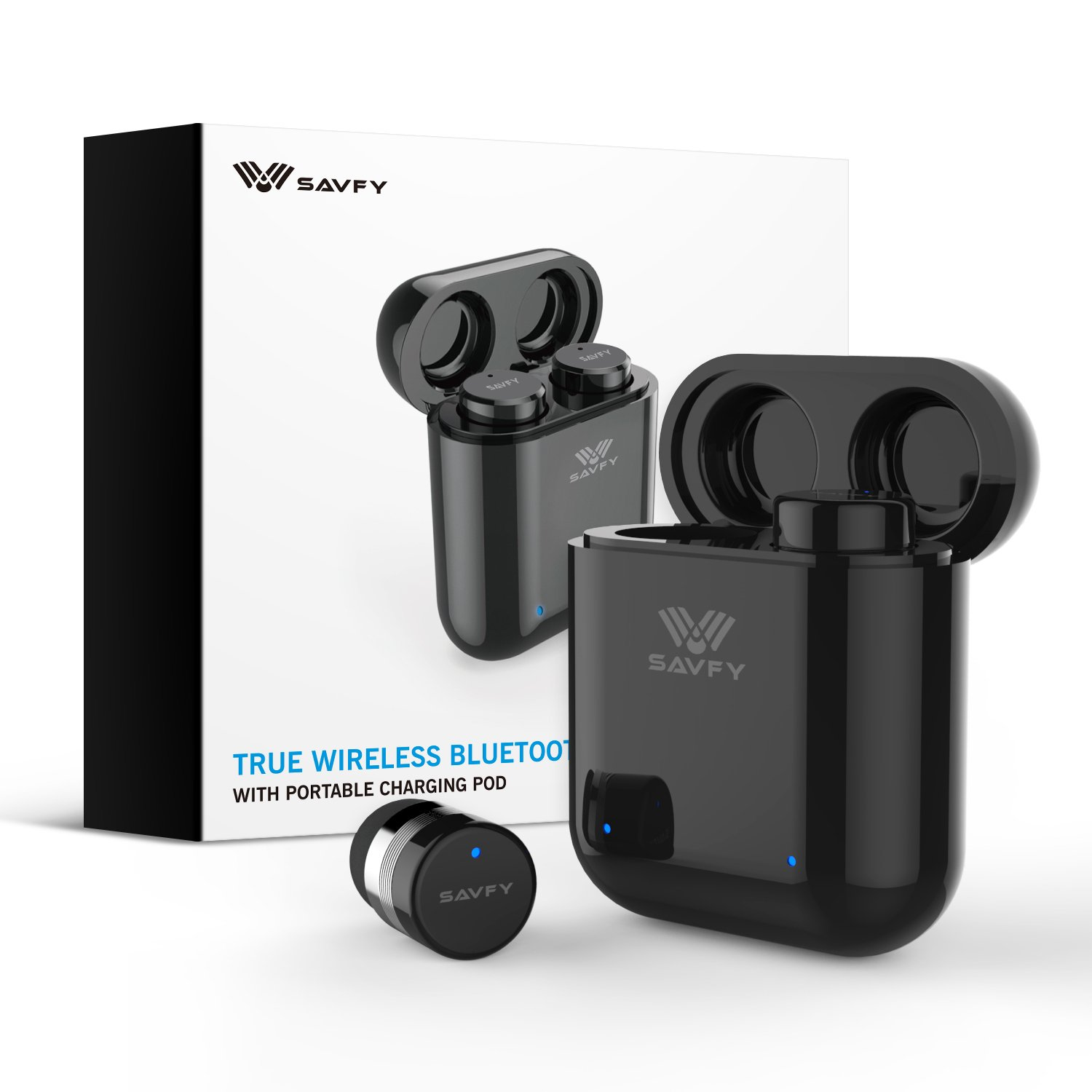 e334118d116 Amazon.com: Bluetooth Headphones, SAVFY Mini True Wireless Bluetooth  Earbuds Pair, Noise Cancelling Sweatproof Headset with Microphone and  400mAH Portable ...