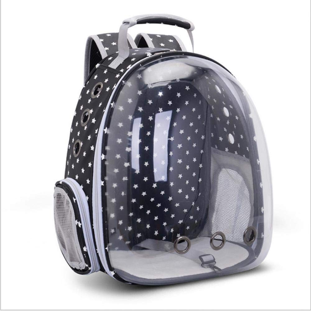 Pet Carrier Backpack, Space Capsule Bubble Transparent Backpack for Cats and Puppies, Airline Approved (Litter Star Black, OneSize)