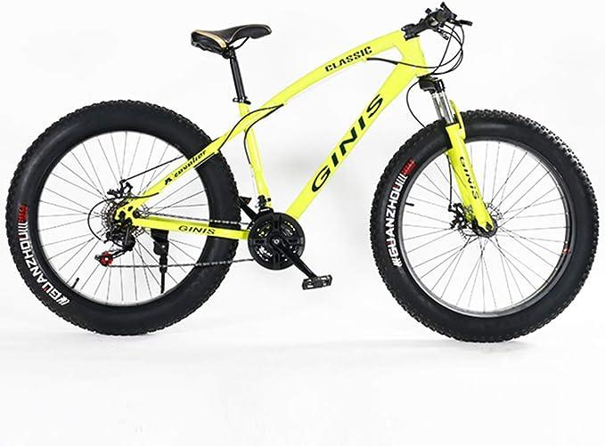 NENGGE Mujeres Bicicleta Montaña, 21 Velocidades 24 Pulgadas Neumático Gordo Hard Tail Bicicleta, Marco De Acero De Alto Carbono, Bicicleta BTT,Amarillo,Spoke: Amazon.es: Hogar