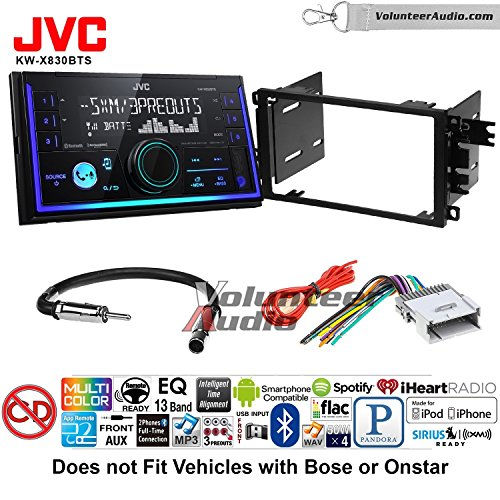 Volunteer Audio JVC KW-X830BTS Double Din Radio Install Kit with Bluetooth SiriusXM Ready Fits 2003-2005 Chevrolet Blazer, 2003-2006 Silverado, 2003-2006 Suburban