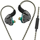 NICEHCK NX7 カナル型イヤホン バランスドアーマチュア型ドライバー4基+2DD(複合カーボンナノチューブダイナミック) + 1セラミック振動板ドライバー 片側に7基のドライバーユニット 2pinリケーブル着脱式 ハイブリット 耳掛け式3.5mm L型プラグ 高音質 高遮音性 高解像度 HIFI ハイファイ 錫メッキ銅ケーブル付属 IEM (マイク付き, 青)