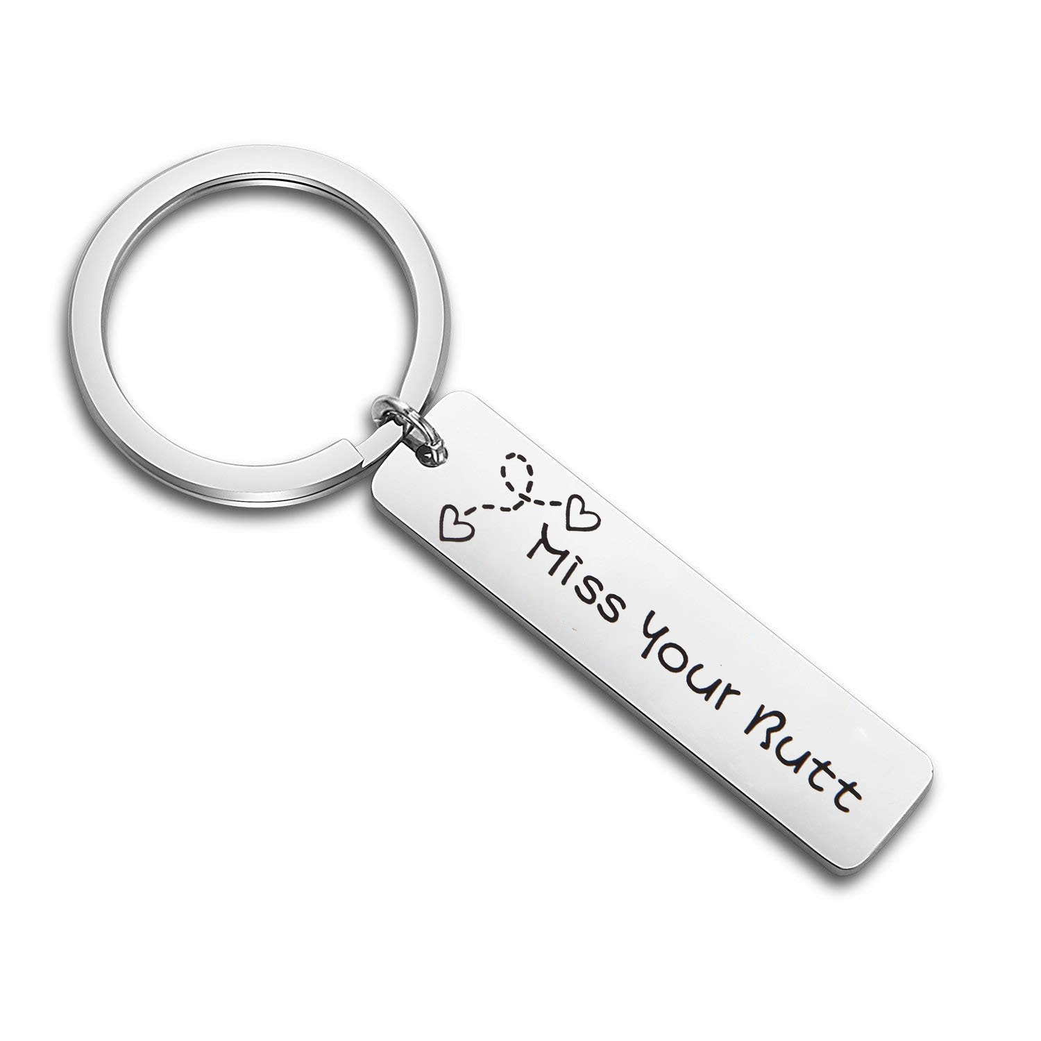 MAOFAED Miss Your Butt Long Distance Relationship gift LDR LDRSHIP love friends for Him or Her (Miss Your Butt Keychain)