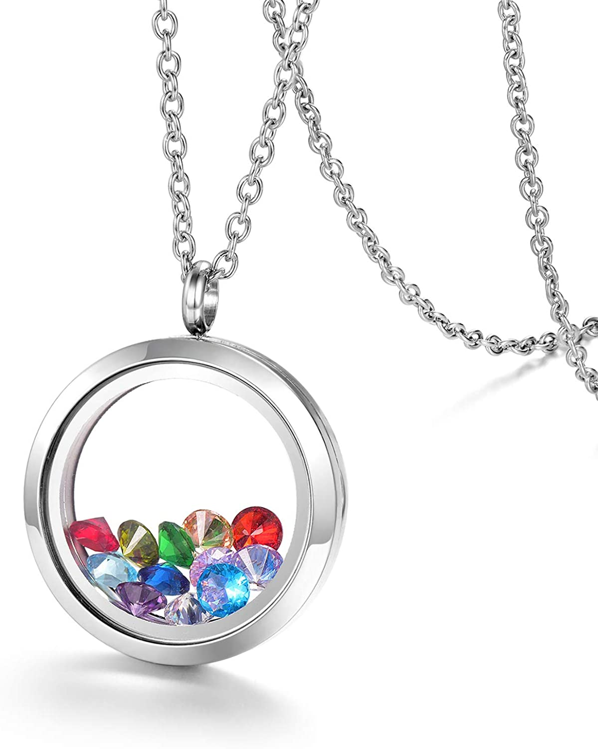 EVERLEAD Stainless Steel Living Memory Floating Charms Locket Necklace with Chain and a Set of Birthstones