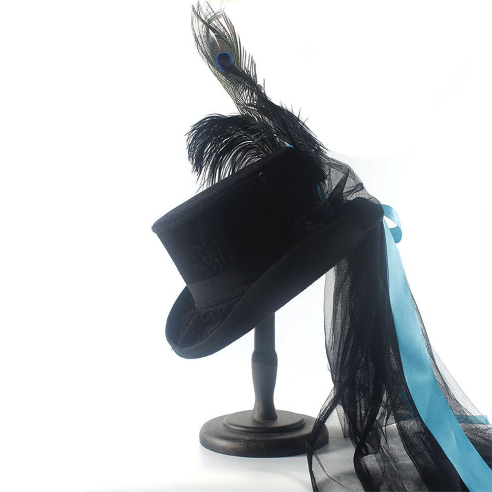 LL Women's Black Top Hat Steampunk Gothic Black Rabbit Top Hat Blue Belt (Color : Black, Size : 59CM)