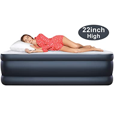 22 inch Double High Elevated Raised Queen Size Air Mattress with Built in Pump Inflatable Blow Up Airbed Portable Beds Double Mattress with Electric Pump for Guests