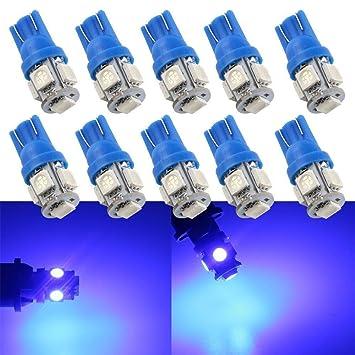Grandview 10pcs Super Brillante Azul T10 194 168 W5W 501 Bombillas 5-5050-SMD