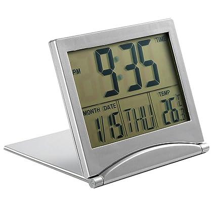Foldable Digital Alarm Clock Desktop Tabletop Calendar Temperature Travel  Clock For Bedroom