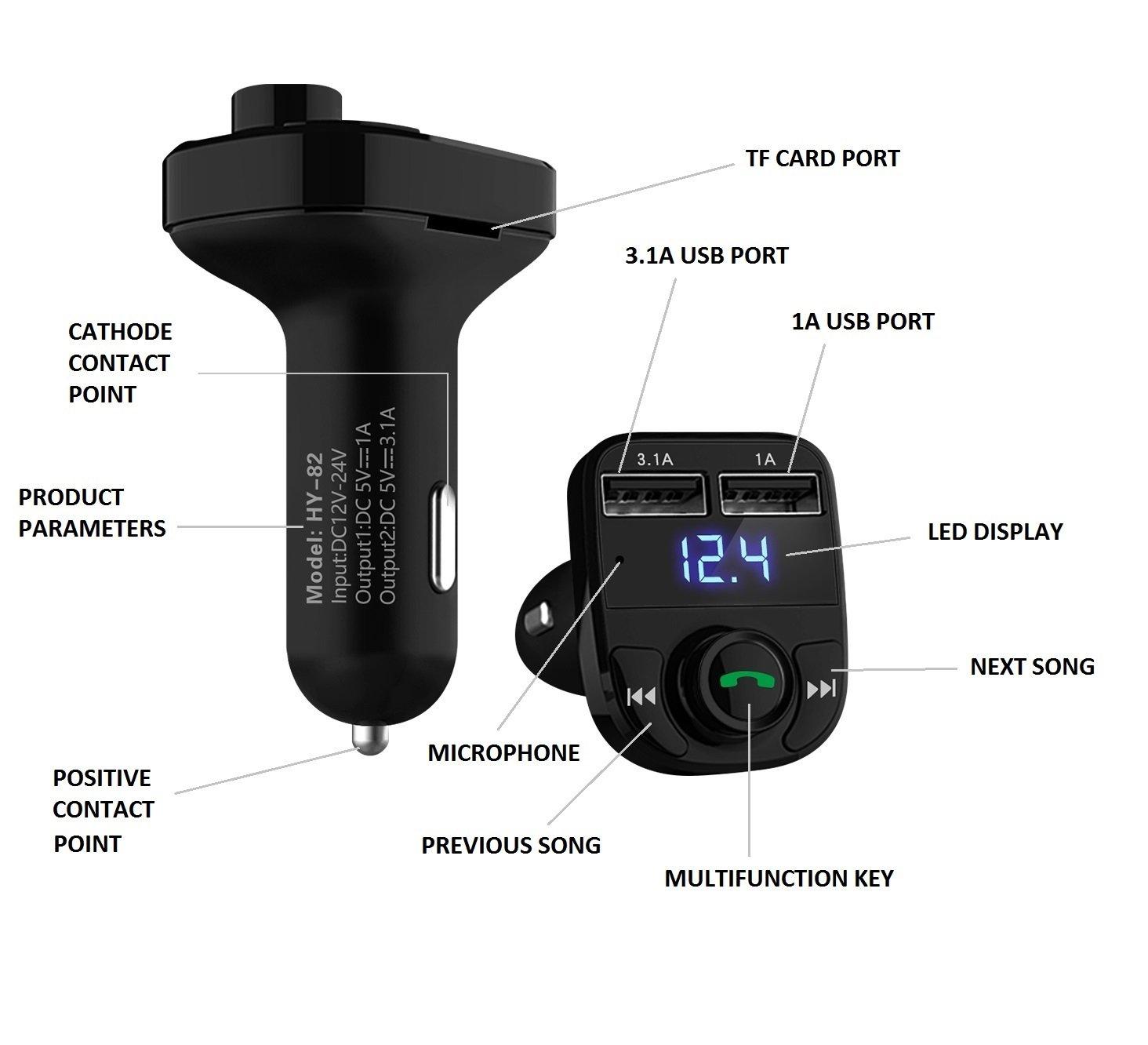 manos libres,con puertos doble usb y tarjeta Micro SD GRK Nuevo Transmisor FM Multi Funci/ón Bluetooth V4.0 Radio inal/ámbrico 3.1A y 1.0A Compatible Androides carga r/ápida inteligente 5V iPhone