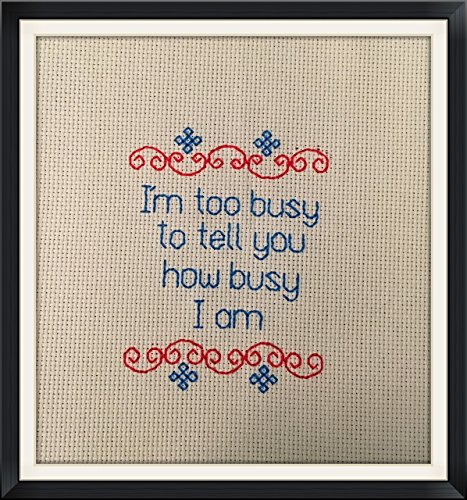 - Completed Finished Counted Cross Stitch. I'm too busy to tell you how busy I am