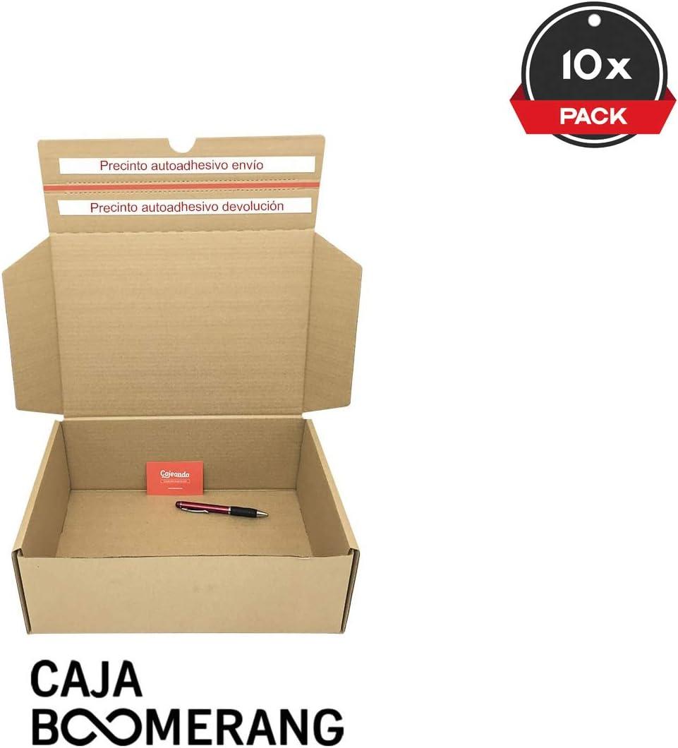 Pack de 10 Cajas de Cartón para Envíos (Caja Doble Envío) de 25 x 19 x 8,5 cm. Color Marrón. Permite Hacer Dos Envíos en Uno. Mudanzas. Fabricadas en España. Cajeando: Amazon.es: