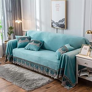 ALIPC Plush Thicken Couch Cover,Stretch Lace Sofa Slipcover Soft Anti-Slip Durable Sofa Cover Washable Furniture Protector-Blue 200x260cm(79x102inch)