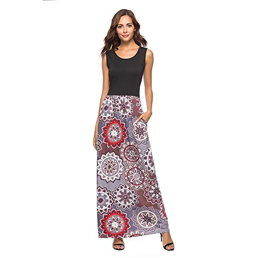 d183e6f6d8d1 Gibobby Women s Summer Sleeveless Floral Printed Maxi Dresses Casual Swing  Dress with Pockets Coffee