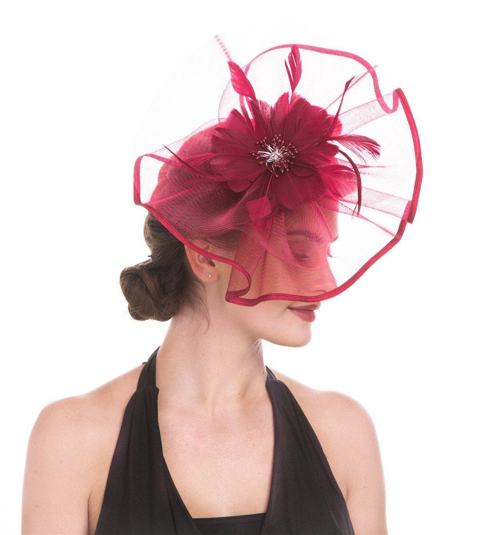 7282a0ed70b94 SAFERIN Fascinator Hat Headwear Feather Mesh Net Veil Wedding Tea Party Hat  Flower Derby Hat for Women (TA1-Large Size Burgundy Feather Mesh) - unknown  ...