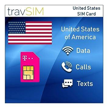 travSIM - Tarjeta SIM Prepaga T-Mobile para EE. UU.: Amazon ...