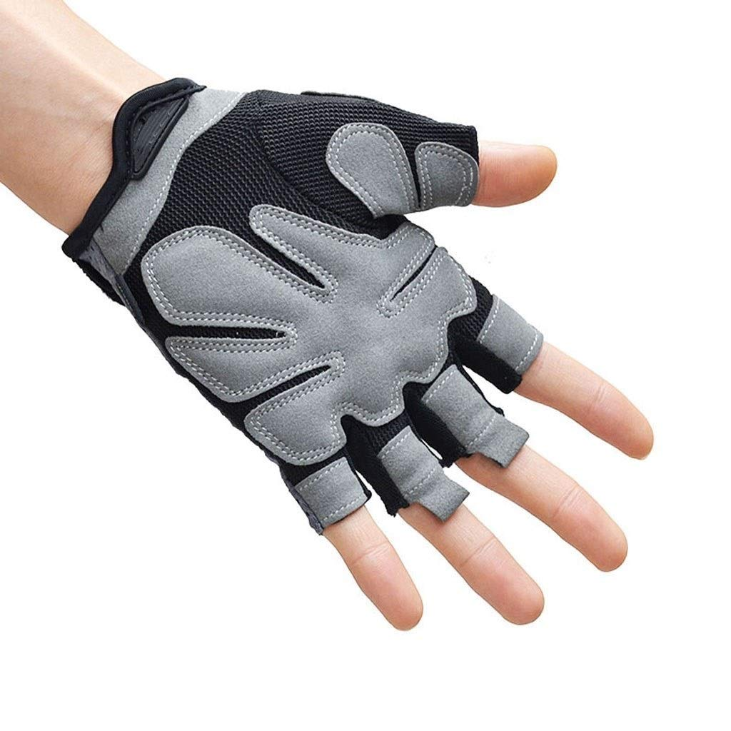 Gloves Fitness Gloves Half Finger Fitness Gloves Men and Women Equipment Training Sports Protective Gear Indoor Outdoor Sports Gloves Black (Pair) (Color : Gray, Size : M) by CML Home