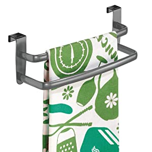 "mDesign Metal Modern Kitchen Over Cabinet Double Towel Bar Rack - Hang on Inside or Outside of Doors, Storage and Organization for Hand, Dish, Tea Towels - 9.75"" Wide - Graphite Gray"