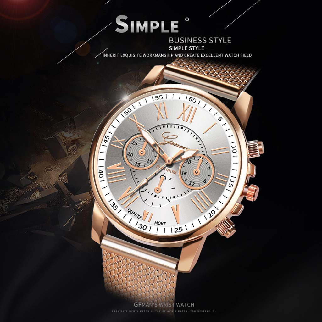 Pocciol Fashion Military Stainless Steel Quartz Watch Womens Casual Watch Luxury Analog Wristwatch (Beige) by Pocciol Cheap-Nice Watch (Image #4)