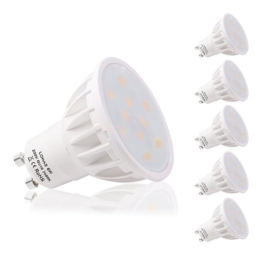 LOHAS® 6W Bombilla LED GU10, Igual a Bombilla Halógena de 50W, 3000K,