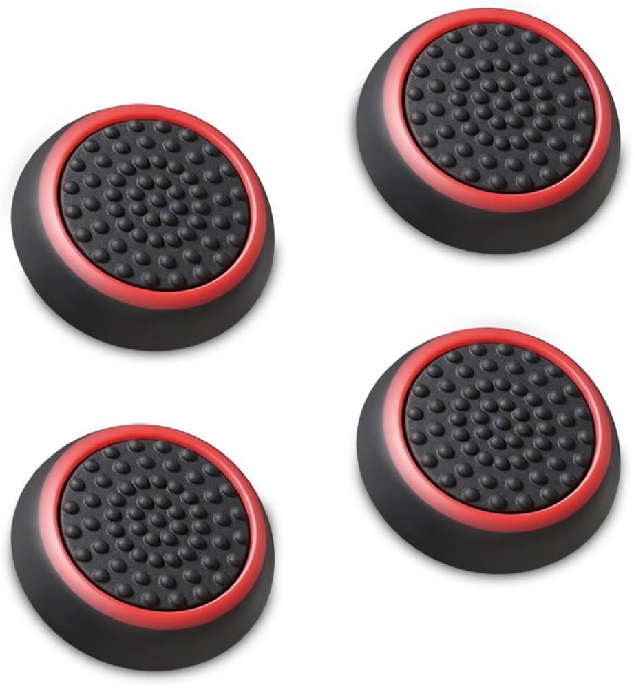 Fosmon A1668, Stick analógico controlador de joystick rendimiento pulgar Grips, negro y rojo, 4 unidades