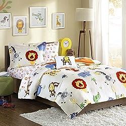 Mi-Zone Kids Safari Sam Twin Kids Bedding Sets for Boys - White, Lion Monkey – 6 Pieces Boy Comforter Set – Ultra Soft Microfiber Kid Childrens Bedroom Comforters