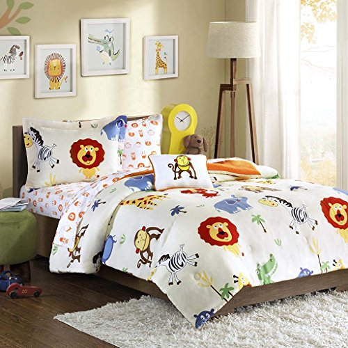 Mi-Zone Kids Safari Sam Twin Kids Bedding Sets for Boys - White, Lion Monkey – 6 Pieces Boy Comforter Set – seriously delicate Microfiber Kid Childrens Bedroom Comforters