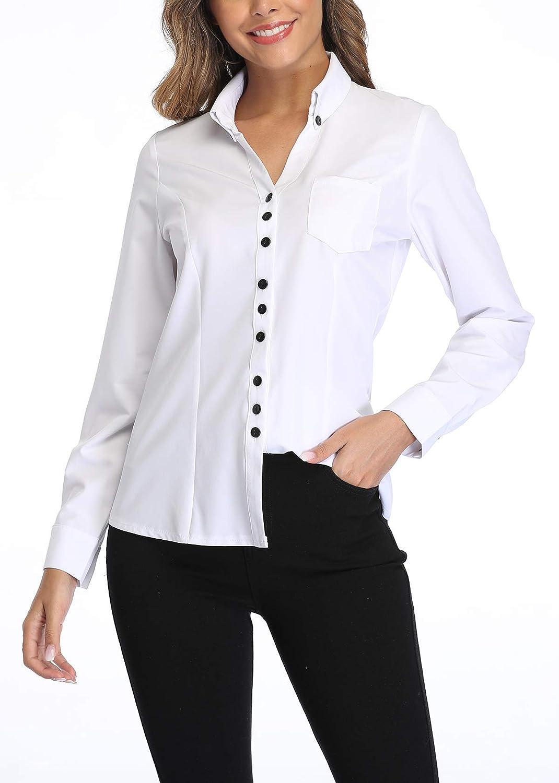 MISS MOLY damskjorta långärmad blus skjortblus affärströja Weiß