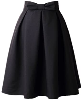 1ee8b38812c6 Women's A Line Pleated Vintage Skirt High Waist Midi Skater with Bow Tie(XS,
