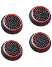 Fosmon Silicone Thumb Stick Analog Controller Grip Caps (4 Pack/2 Pairs) for Xbox 360, PS4, PS3, Wii U/Wii Nunchuk (Black/Red)