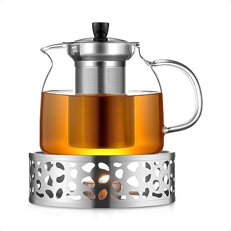 ecooe Original 1500ml Teekanne Glas Borosilikatglas Teebereiter mit 18//10 Edelstahl St/övchen Abnehmbare Sieb Rostfrei Hitzebest/ändig f/ür schwarzen Tee gr/üner Tee Fruchttee duftender Tee und Teebeutel