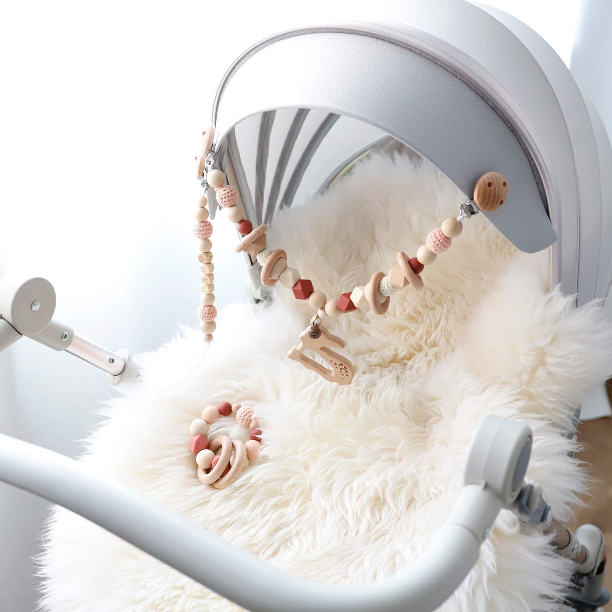 Mamimami Home 3PC actividades colgar juguetes del cochecito de beb/é juguetes asiento cochecito juguete con campana de timbre chupetero cadena chupetes juguetes madera montessori