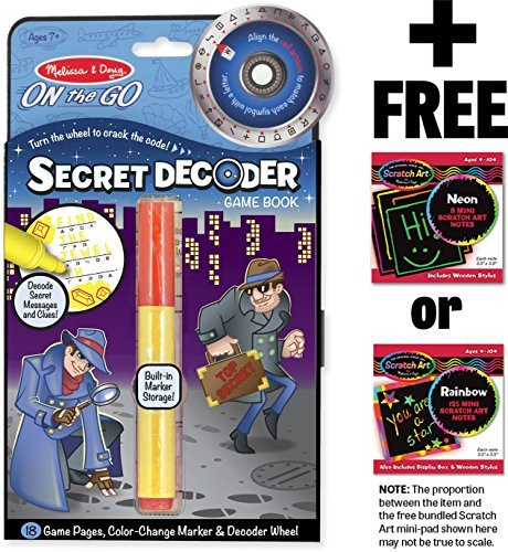 Melissa & Doug Secret Decoder Game Book: On-The-Go Series & 1 Scratch Art Mini-Pad Bundle (05248)