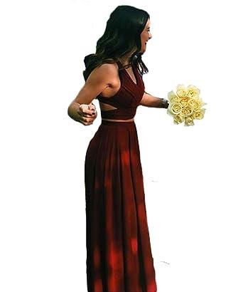 PinkMemory Halter 2 Piece Burgundy Prom Dress Long Chiffon Formal Gowns 2