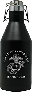 Marine Corps Stainless Steel Beer Growler - Double-Walled Vacuum Insulated USMC 64oz Growler with Swing-Top Lid