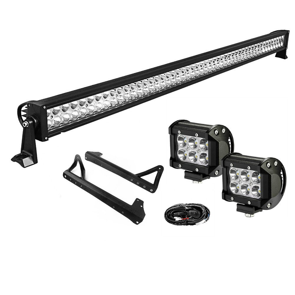 YITAMOTOR 50 Inch Combo LED Light Bar + 2 X 4 Inch 18W Spot Light Pods with Wiring Harness with Roof Mounting Brackets for JEEP Wrangler JK by YITAMOTOR