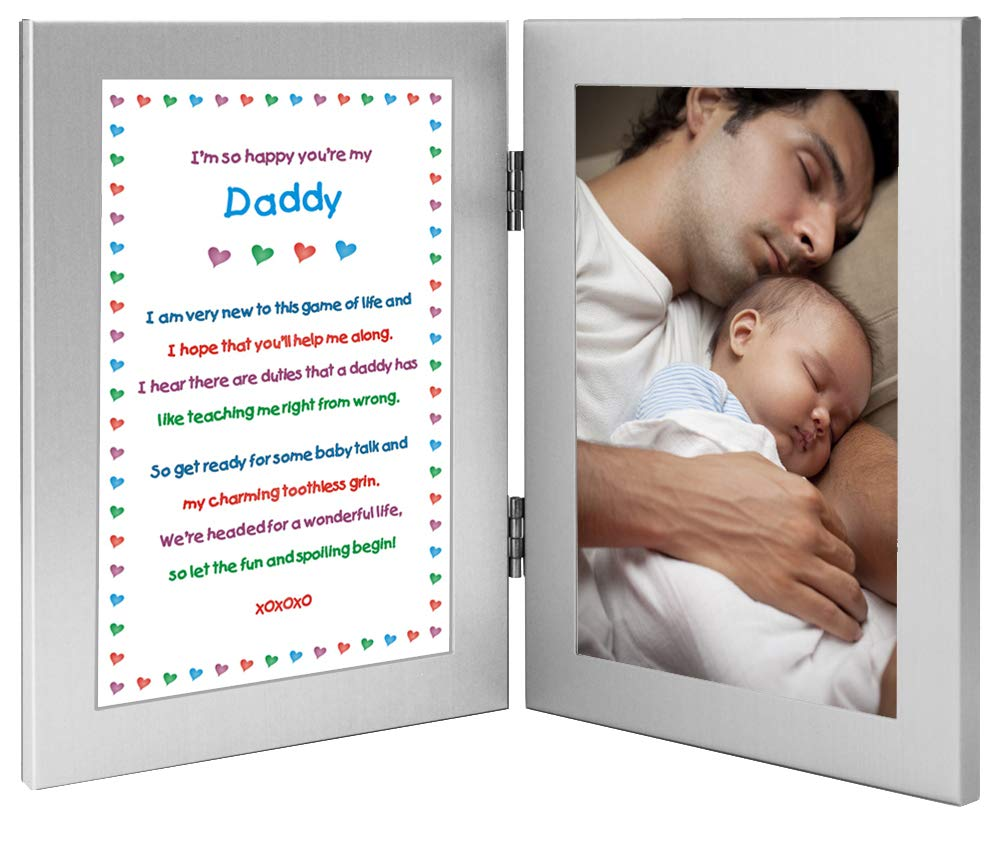 Daddy Gift from Newborn, New Dad Sweet Poem in Double Frame, Add Photo