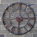 Large 60CM Classic Vintage Stunning Metal Roman Numeral Clock - Black 'Iron'