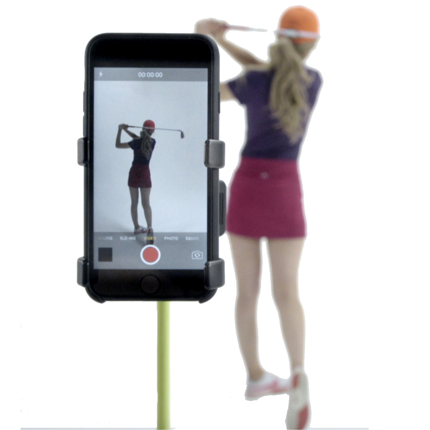 SelfieGolf Record Golf Swing - Cell Phone Clip Holder and Training Aid - Golf Accessories | Winner of The PGA Best Product | Works with Any Smart Phone, Quick Set Up (Blue/White)