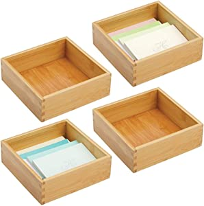 """mDesign Bamboo Stackable Drawer Organizer for Home Office, Desk Drawer, Shelf or Closet to Hold Staples, Highlighters, Adhesive Tape, Paper Clips, Stamps - 7"""" Square, 4 Pack - Natural/Tan"""