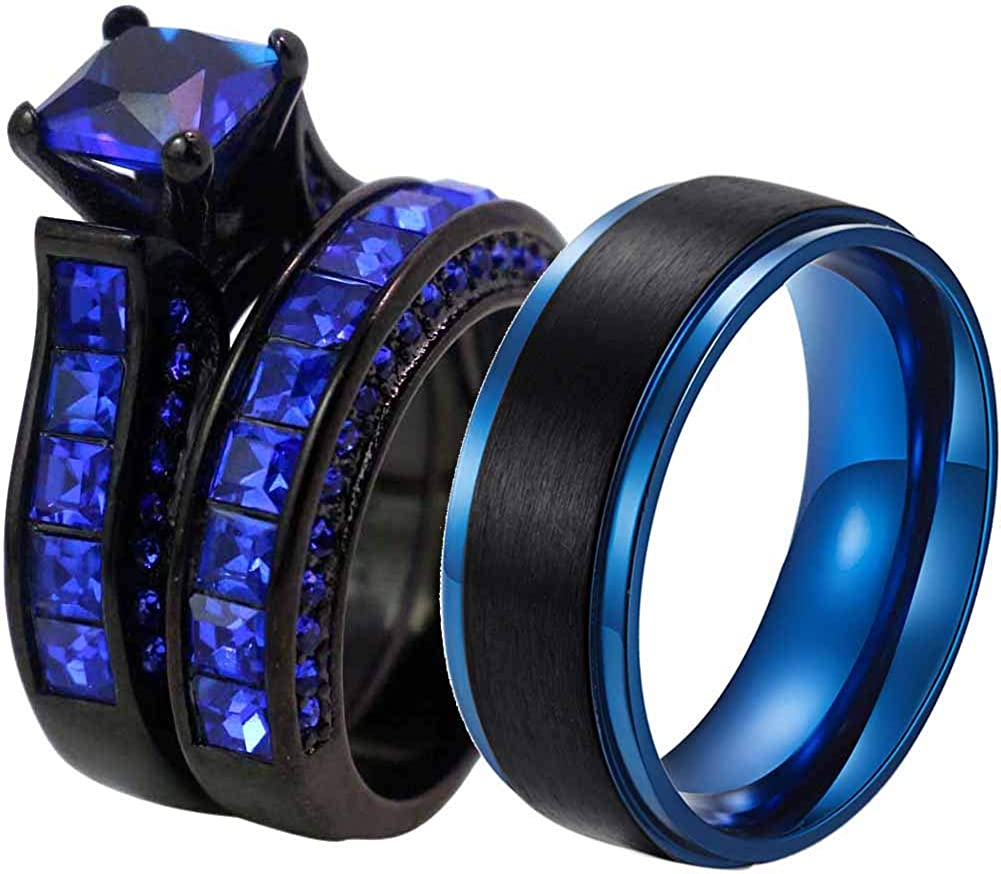 RingHeart 2 Rings Luxury Couple Rings Black Gold Filled Princess Cut Blue Cz Womens Wedding Ring Sets Man Tungsten Wedding Band