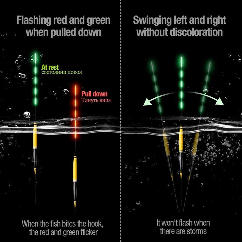 Und Herbewegungs-elektrische Fischen-Boje Mit Batterie Angeln Und Herbewegungs-Fisch-Biss Erinnern Automatisch Farb/änderungs-gl/ühende Hin YANODA Intelligentes Fischen F/ührte Licht-Hin