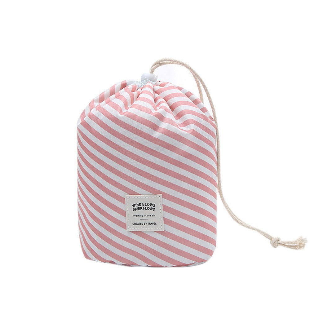 Ochioly Toiletry Bag Travel Makeup Bag Men Women Hanging Wash Bags Large Capacity Drawstring Cosmetic Make up Bag Blue + Mini Pouch + Clear PVC Brush Bag (Pink Stripes)