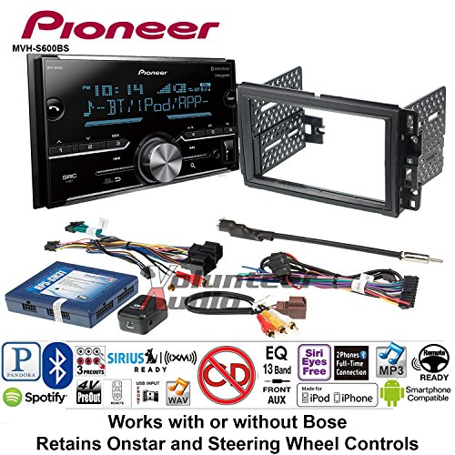 (Volunteer Audio Pioneer MVH-S600BS Double Din Radio Install Kit with Bluetooth USB/AUX Fits 2007-2013 Chevrolet Silverado, Avalanche, 2008-2013 Express)
